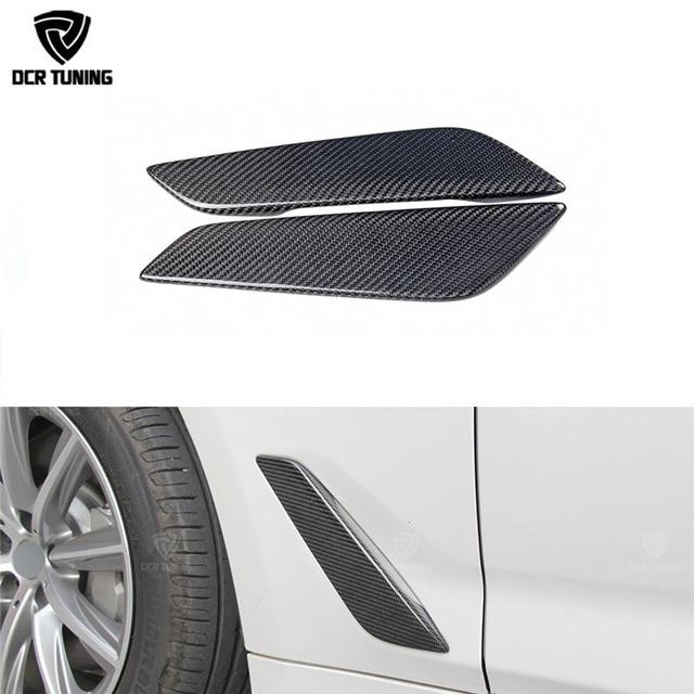 G30 Carbon Fiber Fender Car Front Side Air Vent Cover Trim 2 Pcs For BMW 5 Series G30 Carbon Fiber Fender Trim 2017 +
