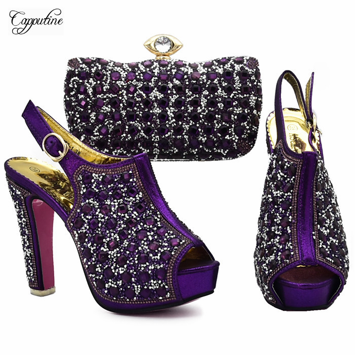 Di lusso di cerimonia nuziale/partito set viola tacco alto pompa scarpe e borsa da sera con pietre per la signora 898- 1