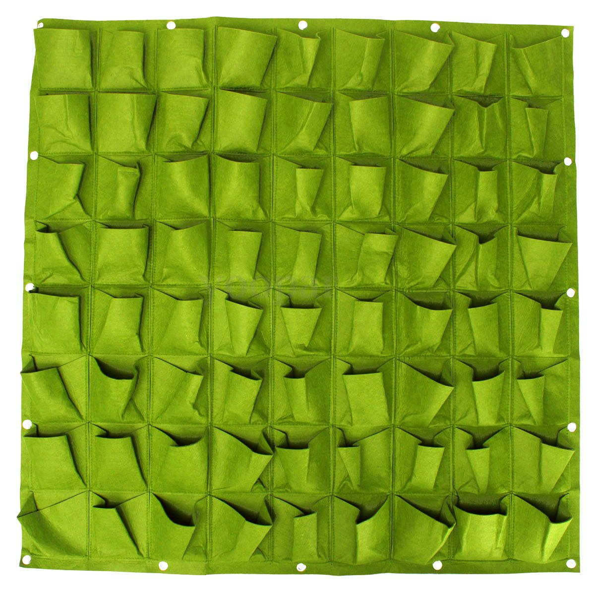 72 Pocket Planting Bag Wall Vertical Greening Hanging Garden Outdoor Plant 1*1M(Green)