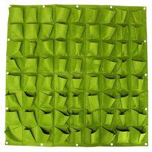72 bolso saco de plantação parede vertical greening pendurado jardim planta ao ar livre 1*1 m (verde)