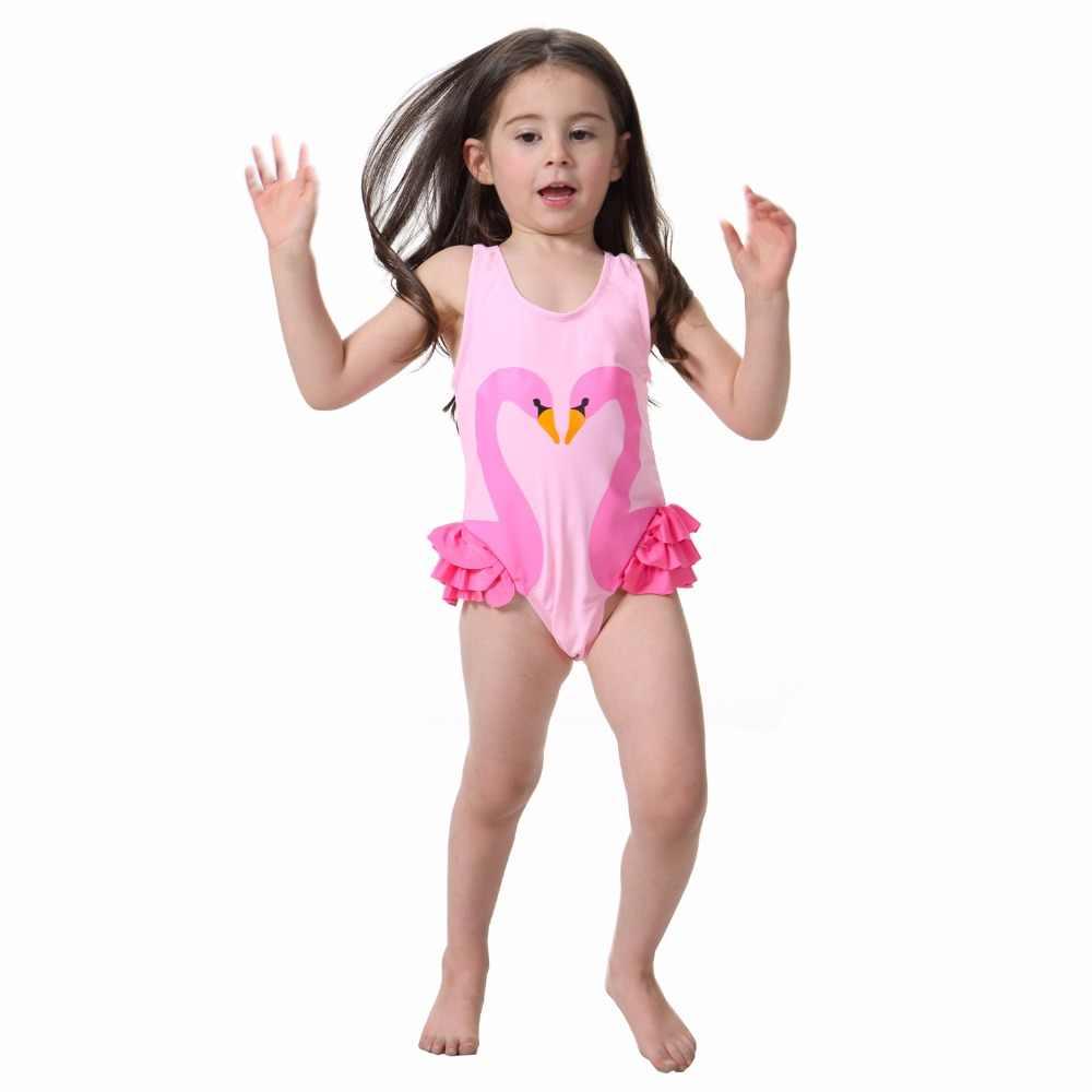 ffba614055 ... Summer Children Kids Baby Girls Bikini One-piece Sleeveless Cute Print  Swimwear Infant Girls Beachwear