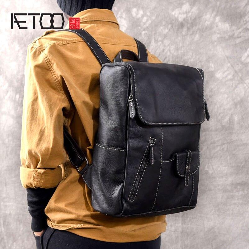 AETOO Soft leather multi-pocket original handmade men's leather shoulder bag leather travel backpack подушка ортопедическая original soft