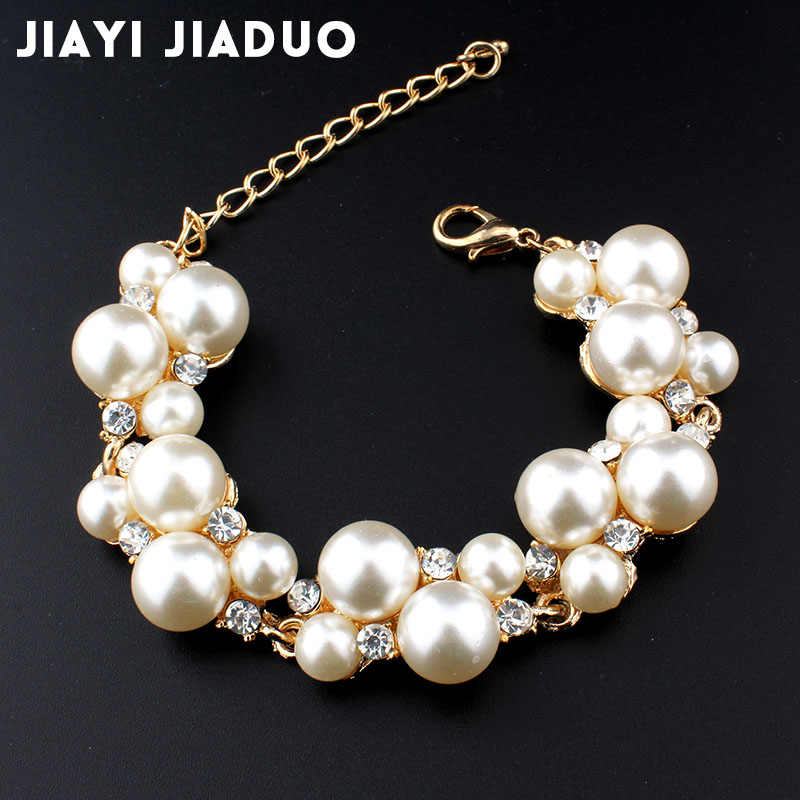 Jiayijiaduo Simulation Pearl Bracelet Ladies Gold Color Link Chain Crystal Bridal Wedding Jewelry Bracelet and Bracelet 807