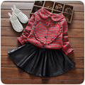 Conjuntos de Roupas meninas Xadrez Moda T-camisa + Saia 2 pcs Conjunto de Roupas para o Outono de Couro Algodão Vetement Enfant Fille para o Outono