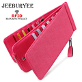 JEEBURYEE Woman Wallet Leather RFID Credit Card Holder Long Slim Unisex ID Card Wallet Female Coin Purse with Zipper Pocket