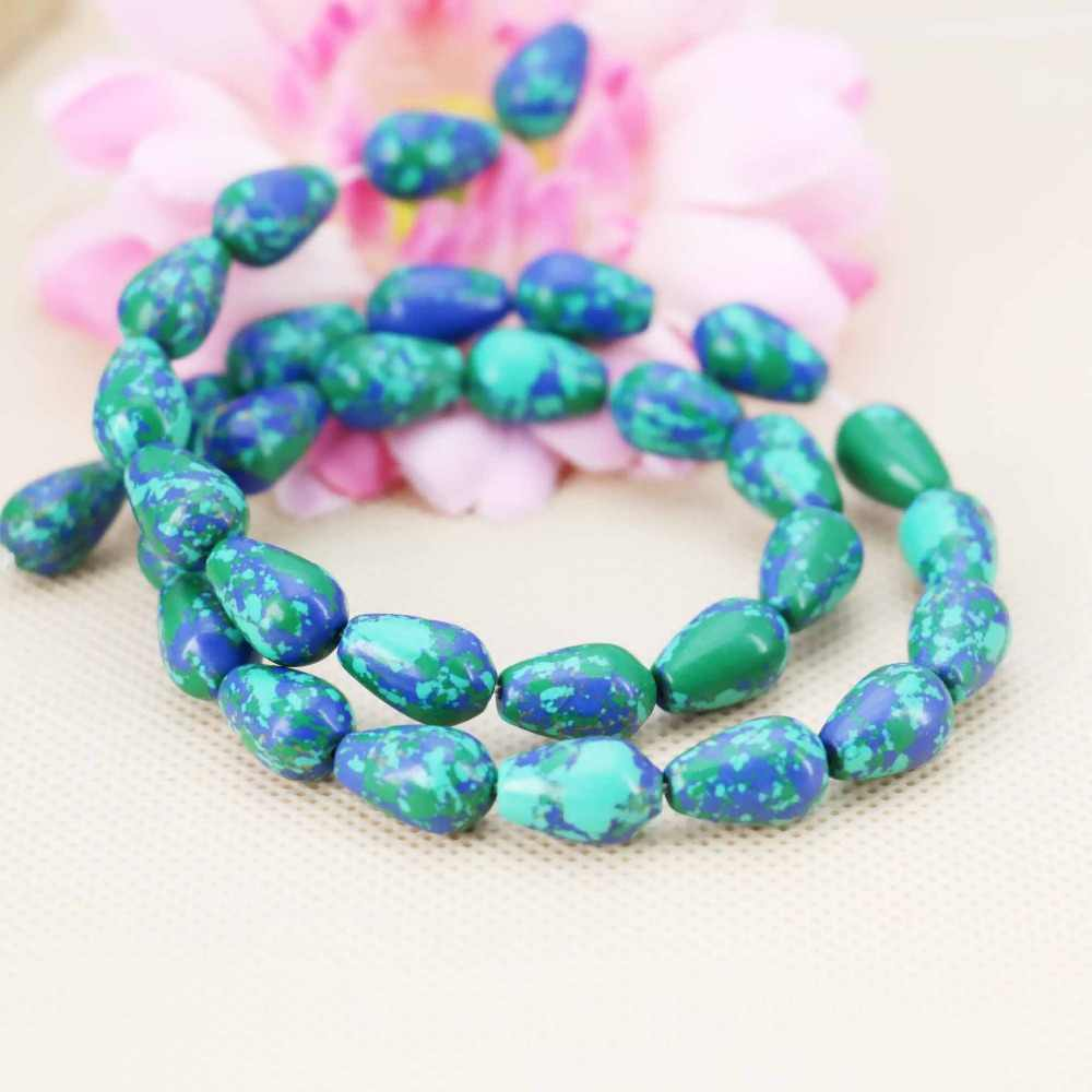 8*12 Mm Biru Wintersweet Turki Drop Longgar Diy Beads Aksesori Bagian Kerajinan Perhiasan Membuat Desain 15 Inch Wanita gadis Hadiah Batu