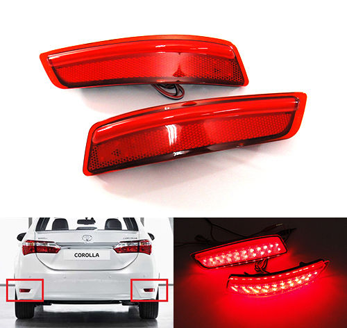 цена на CYAN SOIL BAY 2X Red Lens LED Bumper Reflector Rear Tail Brake Stop Light 2012-2015 For Lexus ES GS Corolla