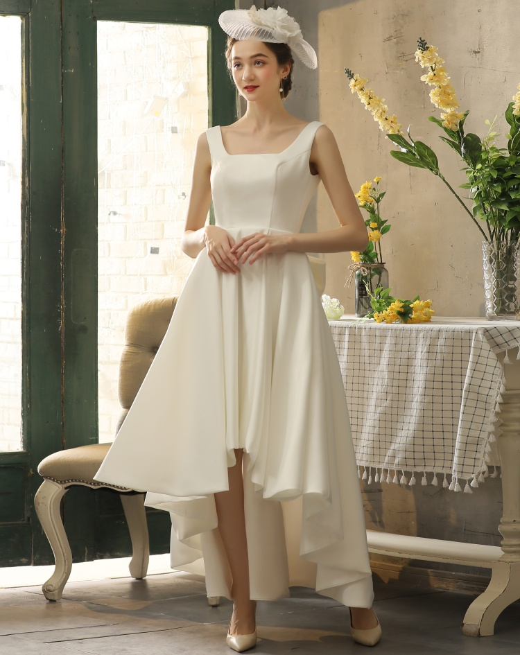 Simple outdoor wedding dress white satin with bow tie and zipper on back high-low ankle length evening dress ball gown