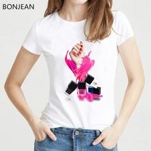 2019 Pink Vogue T shirt Women Perfume Lipstick Nail Polish tshirt femme harajuku kawaii clothes female t-shirt tumblr tops tee