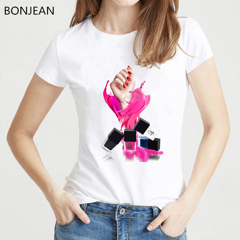 2019 Pink Vogue T Shirt Women Fashion Lipstick Nail Polish Tshirt Femme Harajuku Kawaii Clothes Female T-shirt Tumblr Tops Tee