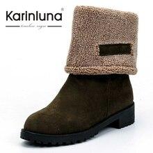 KarinLuna Nouvelle Marque Femmes Mi-mollet Bottes Pour L'hiver Avec de la Fourrure Casual Bout Rond Chaussures de femmes Garder Au Chaud Bottes