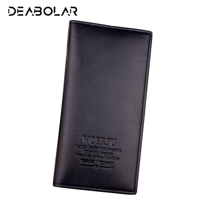 (WOERFU) Fashion Classic Men Soft Long Brand Leather Wallet Purse with Card Holder Free Shipping wallet