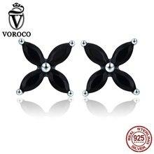 VOROCO 100% 925 Sterling Silver Earring Bohemia Flower Black CZ Stone Stud Earrings For Woman Girl Party Fine Jewelry BKE362