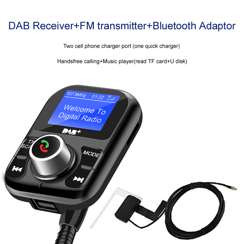 DAB Extension Antenna Receiver with USB Adapter Bluetooth Handsfree Calling FM Transmitter For Europe Australia in Bluetooth Car Kit from Automobiles Motorcycles