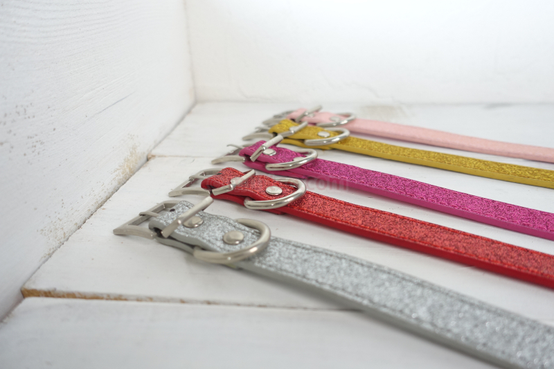 50pcs/lot personalized high quality solid-colored dog collars cover glitter powder 3 sizes dog collar with square buckle CS030P