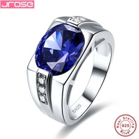Jrose Luxury 7.85ct Stone Wedding Engagement Ring Men Genuine 925 Sterling Sliver Fine Jewelry Free Shipping