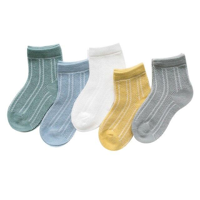 5 par/lote 2019 nuevo verano niños niñas de malla de calcetines conjunto 0-12Y niños corta delgada Calcetines de algodón cómodo Calcetines mucho