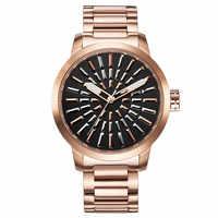 ヴォーグガールズユニセックスビッグステンレス鋼は、トレンディなファッション女性クォーツ腕時計スチームパンク金属ストライプアナログ Relojes