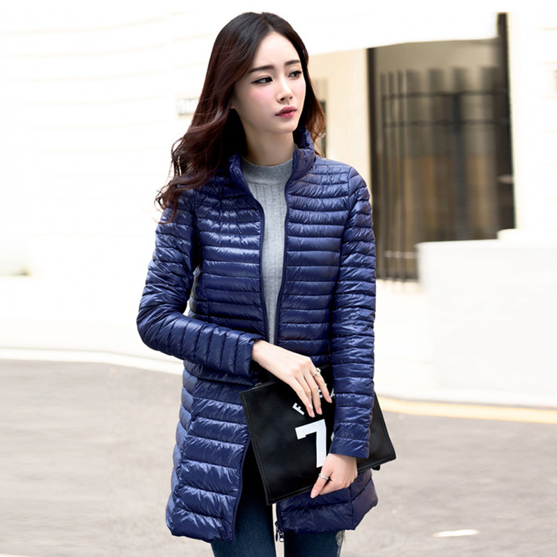Woman Coat 90% White Duck Down Long Jacket Female Overcoat Ultra Light Slim Solid Jackets Winter Coat Portable Fashion   Parkas