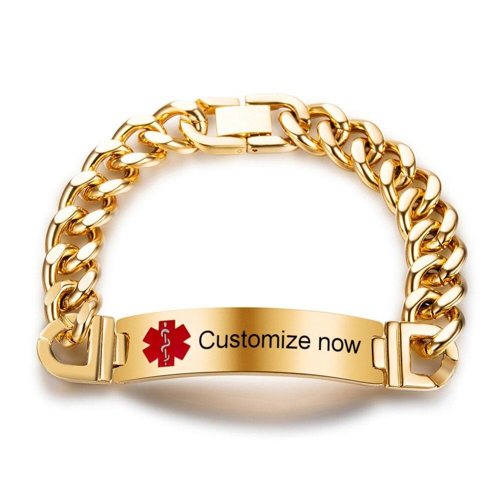 Personalised Man Bracelet Engraved Medical Bracelet Medical Awareness Gift
