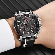 Relogio Masculino LIGE bracelet en cuir pour hommes, marque supérieure de luxe, Quartz, argent, style décontracté, militaire, étanche, Sport