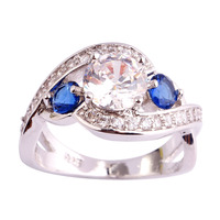 lingmei Wholesale Princess Alluring White Topaz & Sapphire Quartz 925 Silver Ring Size 6 7 8 9 10 11 Women Fashion New Jewelry