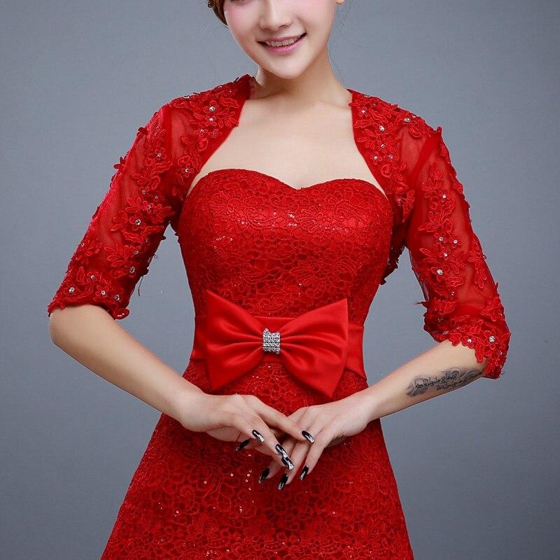 Half mouw kant bruids jasje rode avondjurk Wraps voor meisjes - Bruiloft accessoires - Foto 6
