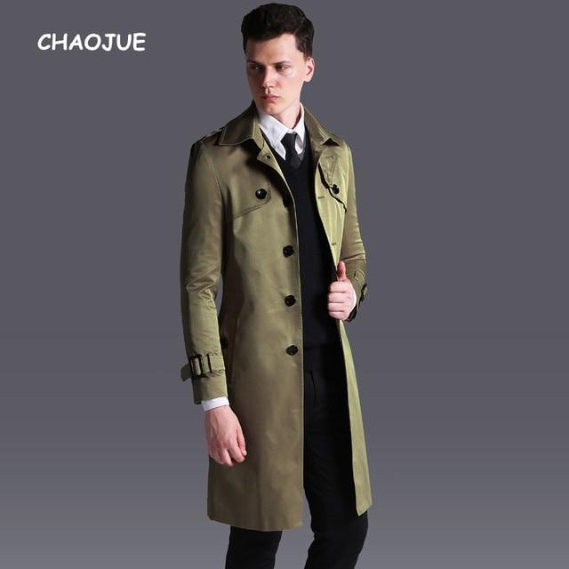 best service 68f33 62a97 US $92.22 16% OFF CHAOJUE Neuheiten Lange Trenchcoat für herren Einreiher  Slim Fit Khaki Pea Coat England Männlich Plus Größe 6XL mantel in CHAOJUE  ...