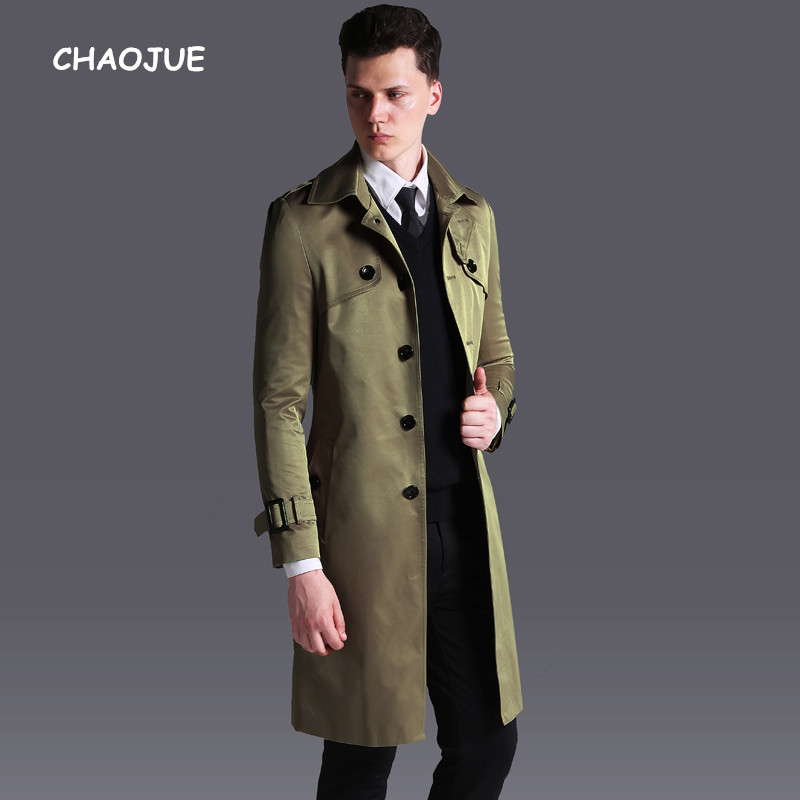Chaojue New Arrivals Long Trench Coat For Mens Single Breasted Slim