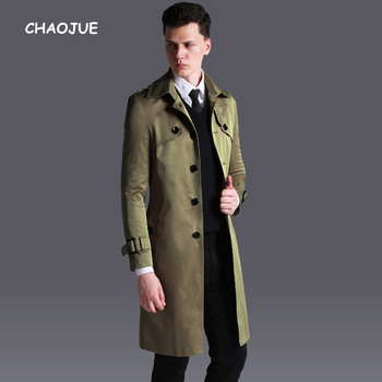 CHAOJUE New Arrivals Long Trench Coat for mens Single Breasted Slim Fit Khaki Pea Coat England Male Plus Size 6XL Overcoat