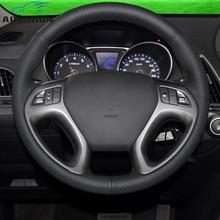 Auto-styling in microfibra Auto Volante in pelle di Copertura Della Ruota di accessori Auto per Hyundai ix35 Tucson 2 2011 2012 2013 2014 2015