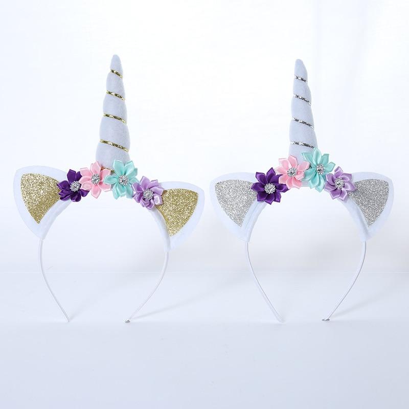 Baby Girls Unicorn Horn Hairband Headband Hair Accessories Cat Ears Birthday Glitter Children Headwear Accessory for Party in Hair Accessories from Mother Kids