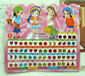 FD553 beautiful Kid Girl Crystal Stick Earring Sticker Toy Body Bag Party Jewellry ~60pcs~