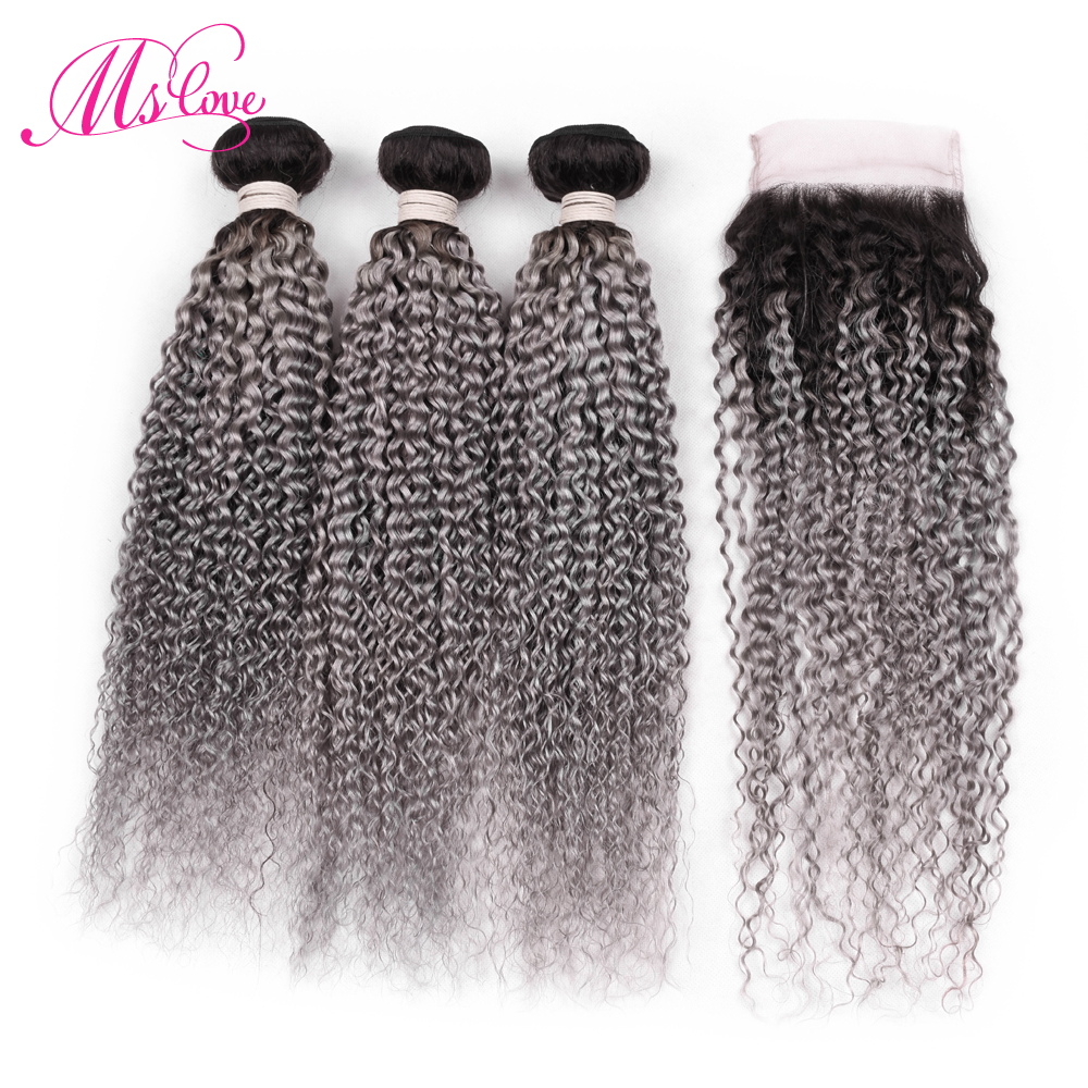 Ms Love Ombre 1B Dark Grey Curly Bundles With Closure Colored Bundles With Closure Brazilian Remy Human Hair Weave Bundles