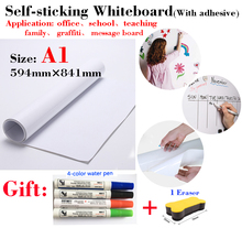 1pcs A1 Size Whiteboard Soft Message Board Suitable for Office Teaching Children's Drawing Graffiti with Self-adhesive Coating genuine quality finger touch cheap interactive whiteboard school smart board for teaching meeting training center