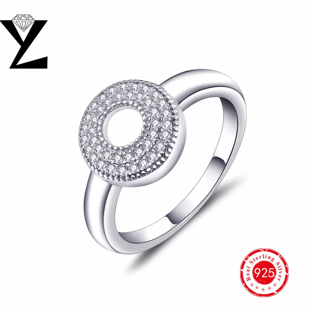 Luxury Hollow Round Cz Diamond Silver Rings For Women 925 Sterling Silver  Jewelry Wholesale White Gold Plated Wedding Rings