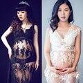 Branco preto real maternidade vestido de renda grávidas sessão de fotos fotografia Props fantasia gravidez maternidade vestido longo Nightdress