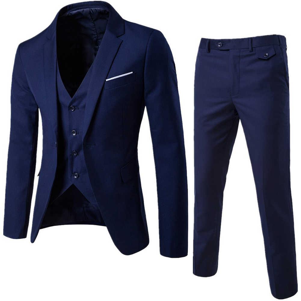 男性のビジネス介添人スーツスーツ + ベスト + パンツ 3 個の権利が確定セットスリムスーツの結婚式のパーティーブレザージャケット