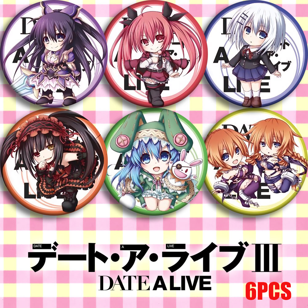 2019 Update Japan Anime DATE A LIVE Tokisaki Kurumi Cosplay Bedge Cartoon Brooch Pins Collect Bags Badges For Backpacks 58mm NEW