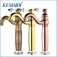 KEMAIDI Retro Bathroom Mixer Rose Gold Polished Antique Brass Basin Sink Swivel Spout Ceramic Banheiro Torneira Mixer Tap Faucet