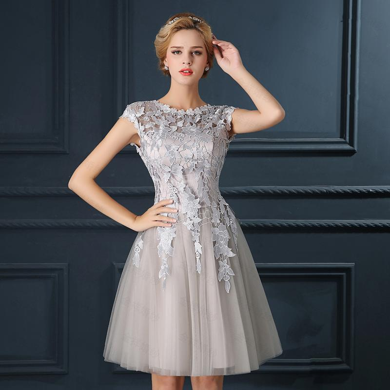 Luxury Cocktail Dresses Applique Lace Homecoming Party Dresses Grey ...