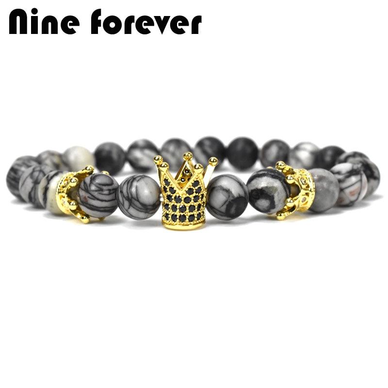 Nine forever natural stone beads bracelet men jewelry king crown charm bracelets for women erkek bileklik pulseira masculina