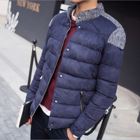 Men S Winter Spell Color Collar Coat Male Short Paragraph Warm Jacket Thick Cotton Young Stylish