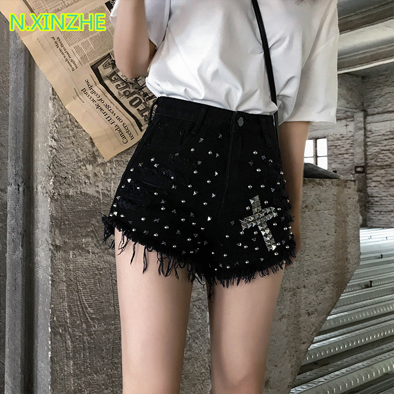 2019 Women Clothing High Waist Rivet Tassel Washed Pure Cotton Short Jeans Female Fashion Casual Loose Denim Wide Leg Shorts