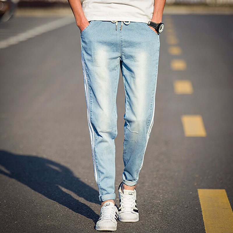 Aliexpress.com : Buy Mens Skinny Jeans Pant Side Striped Light