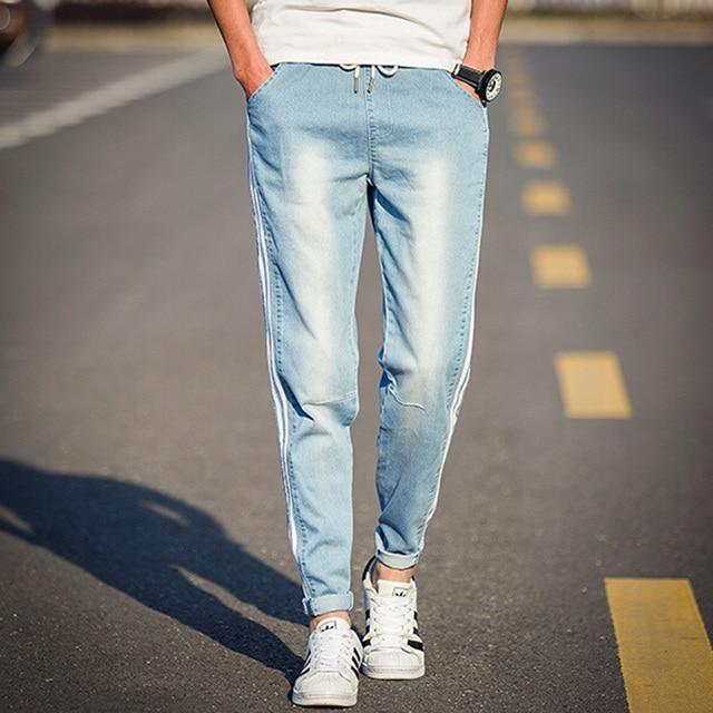 Aliexpress.com  Buy Mens Skinny Jeans Pant Side Striped Light Blue Drawstring Causal Men Denim ...
