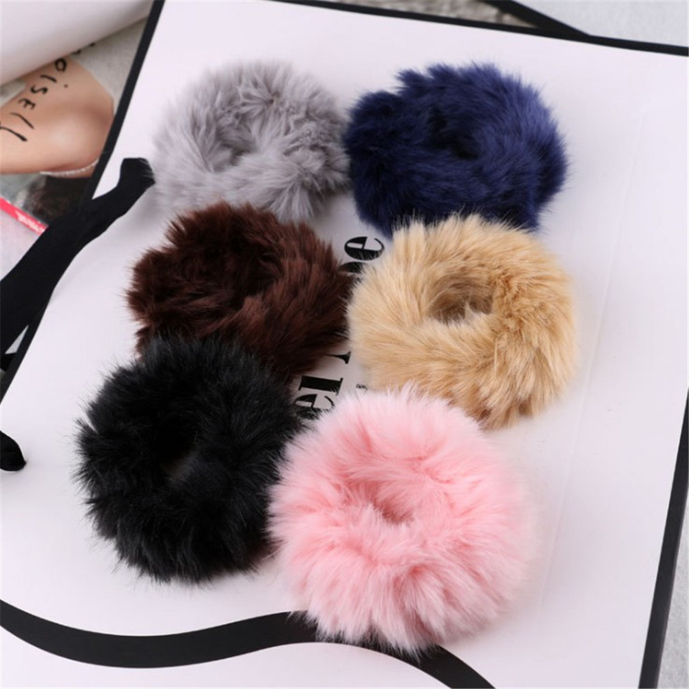 Fluffy Faux Fur Decor Stretchy Band Hair Tie Ponytail Hairband for Lady