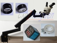 FYSCOPE 3.5X 90X Trinocular Articulating Arm Pillar Clamp 144 LED Zoom Stereo Microscope+14MP HDMI camera+144 LED Light