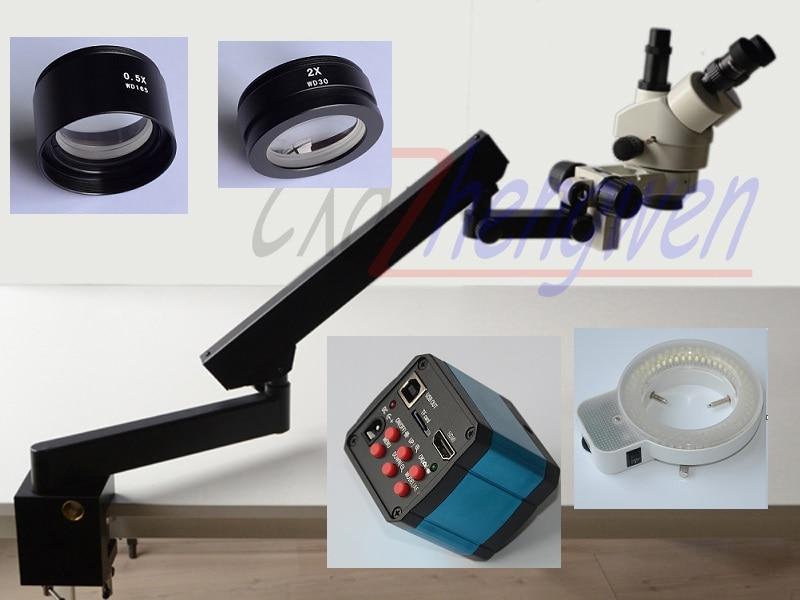 FYSCOPE 3.5X-90X Trinocular brazo articulado Pilar abrazadera 144-LED Zoom microscopio estéreo + 14MP Cámara HDMI + 144 luz LED