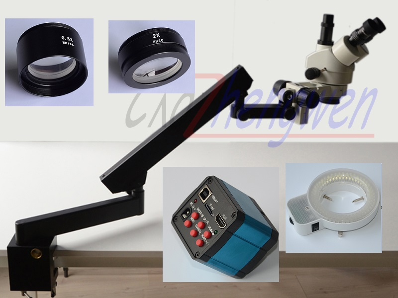 FYSCOPE Braccio Snodato Pilastro Morsetto LED 3.5X-90X Trinoculare Zoom Stereo Microscopio + 14MP fotocamera HDMI + 144 LED luce